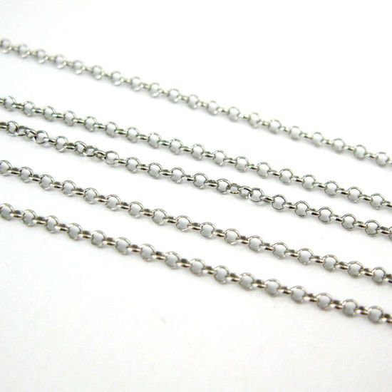 Sterling Silver Chain - Rhodium Plated Rolo Chain-Unfinished Bulk Chain - 1mm Rolo Chain