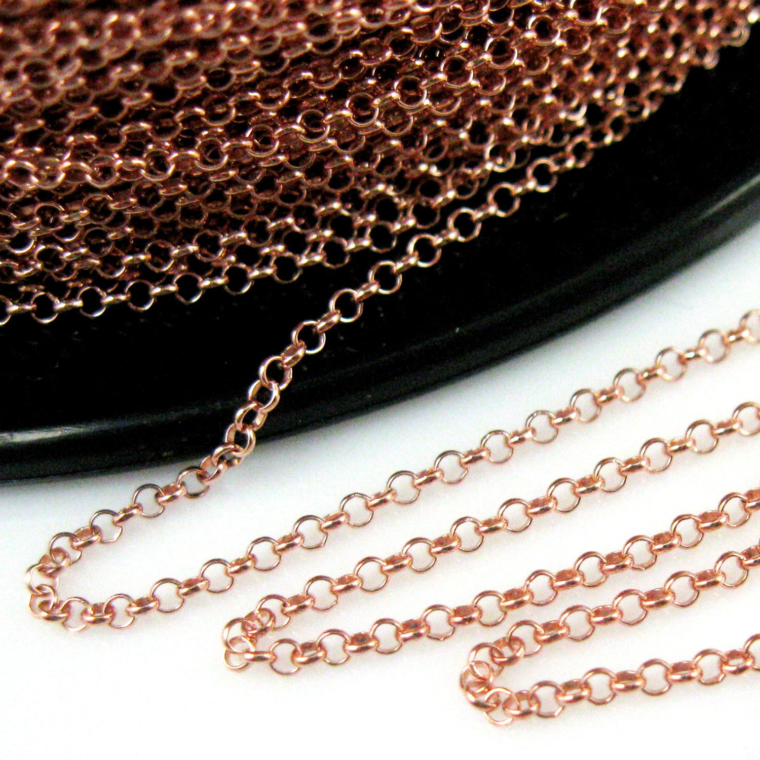 Rose Gold plated over Sterling Silver Chain - Rolo Chain-Unfinished Bulk Chain -1mm Rolo Chain