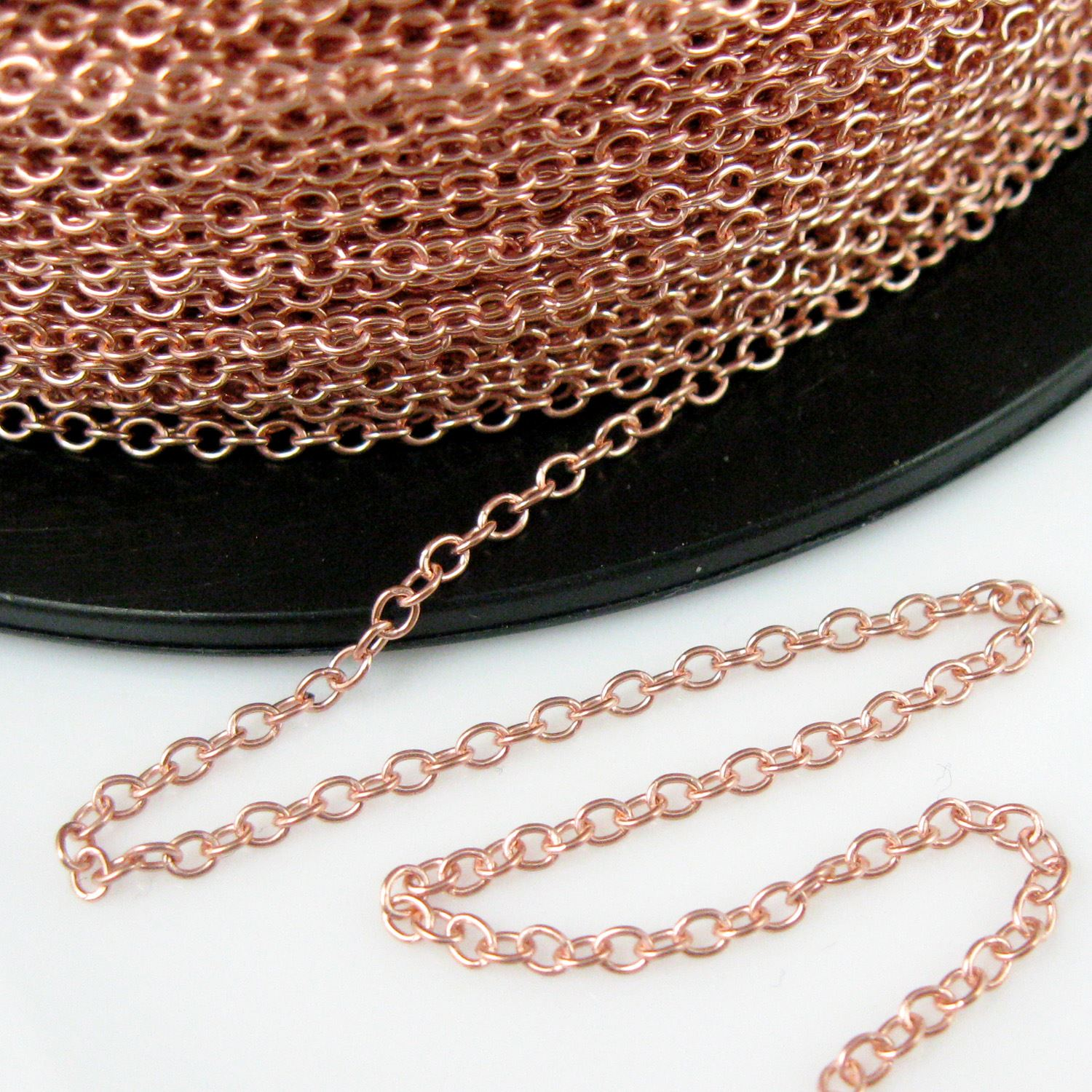 Rose Gold plated Sterling Silver Chain- Wholesale Bulk Chain - 2mm Strong Cable Oval Chain - Strong Chain - Unfinished Bulk Chain (sold per foot)