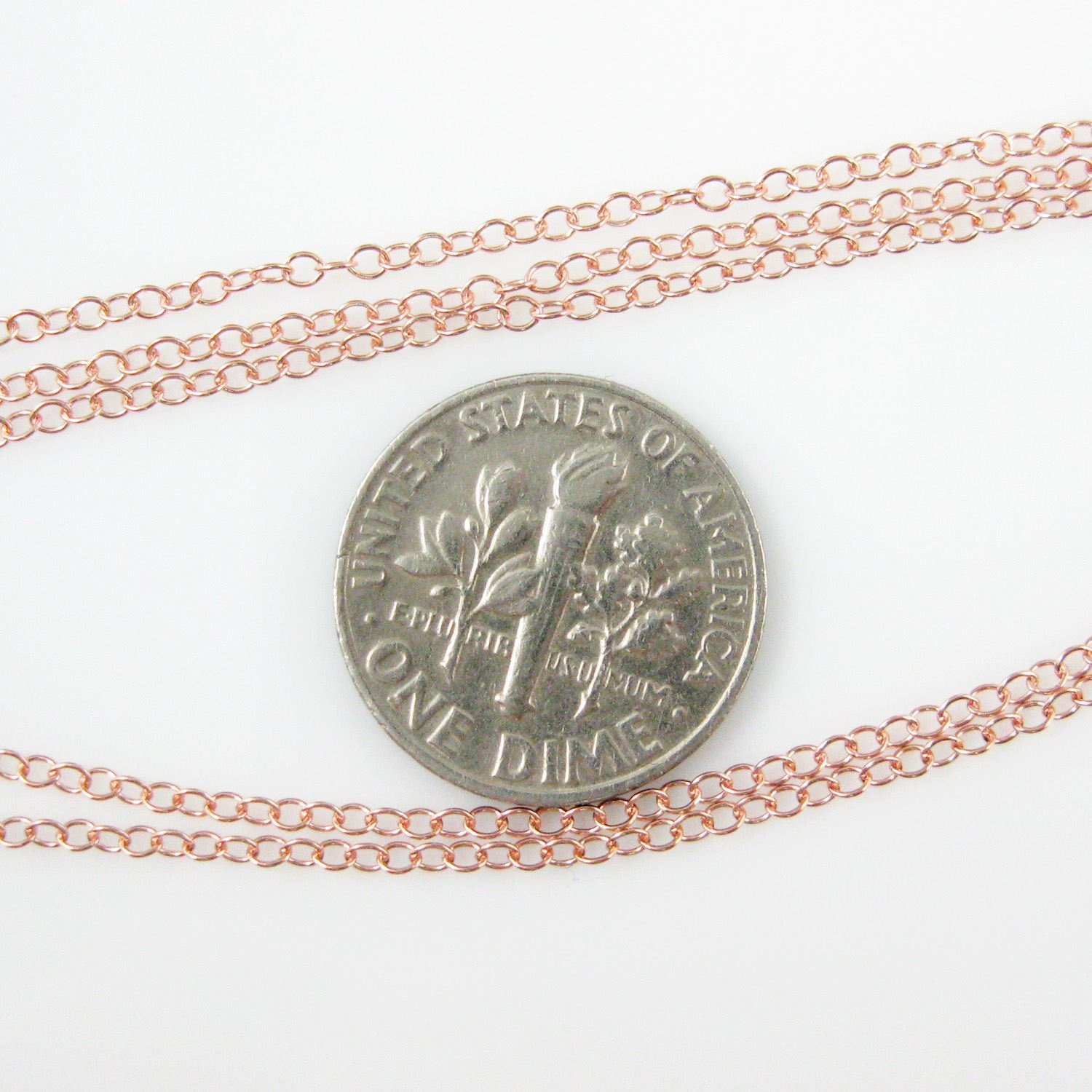 Rose Gold Plated over Sterling Silver Chain, 925 Sterling Silver Bulk Chain - 2 by 1.5mm Cable Oval (sold per foot)