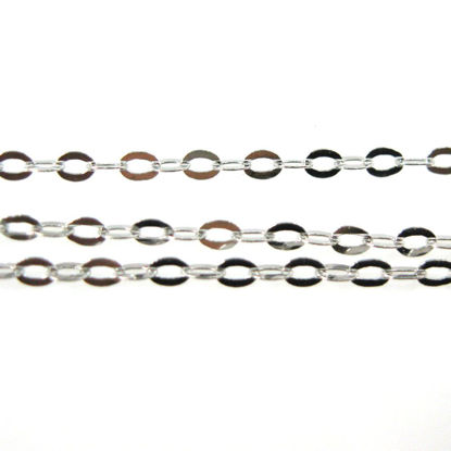 Rhodium plated over Sterling Silver Chain-1.5X2 Cable Flat Oval Chain - Unfinished Bulk Chain  (sold per foot)