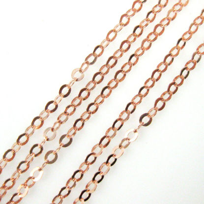 Rose Gold plated over Sterling Silver Chain-1.5X2 Cable Flat Oval Chain - Unfinished Bulk Chain  (sold per foot)