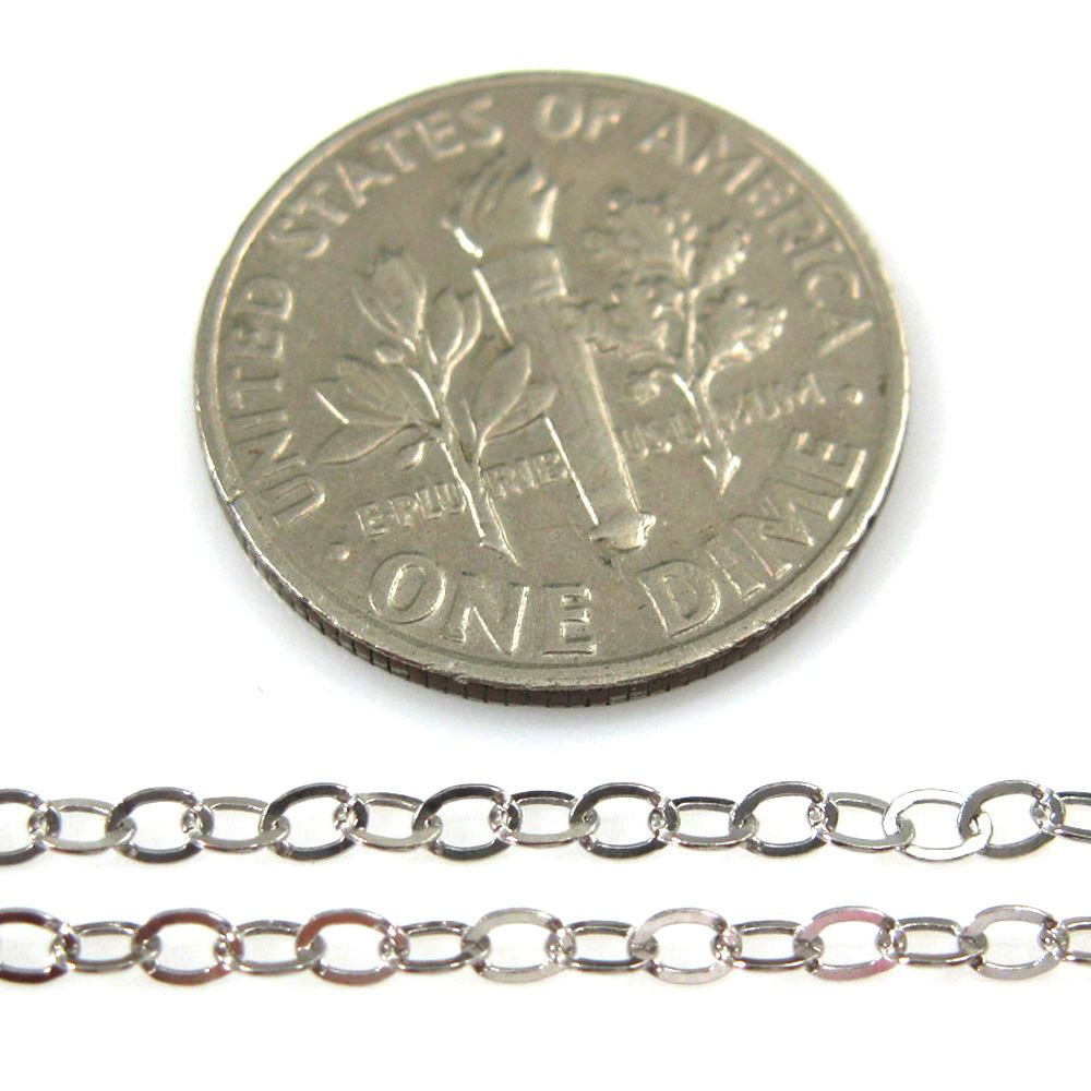 925 Sterling Silver Rhodium Plated Chain, Unfinished Chain, Cable Flat Oval, Cable Chain -Unifinished Bulk Chain -2.5 by 2mm