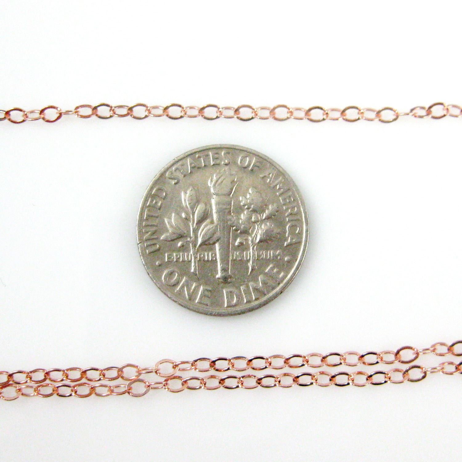 Rose Gold plated over 925 Sterling Silver Chain, Unfinished Bulk Chain, Cable Flat Oval, Cable Chain -2.5 by 2mm