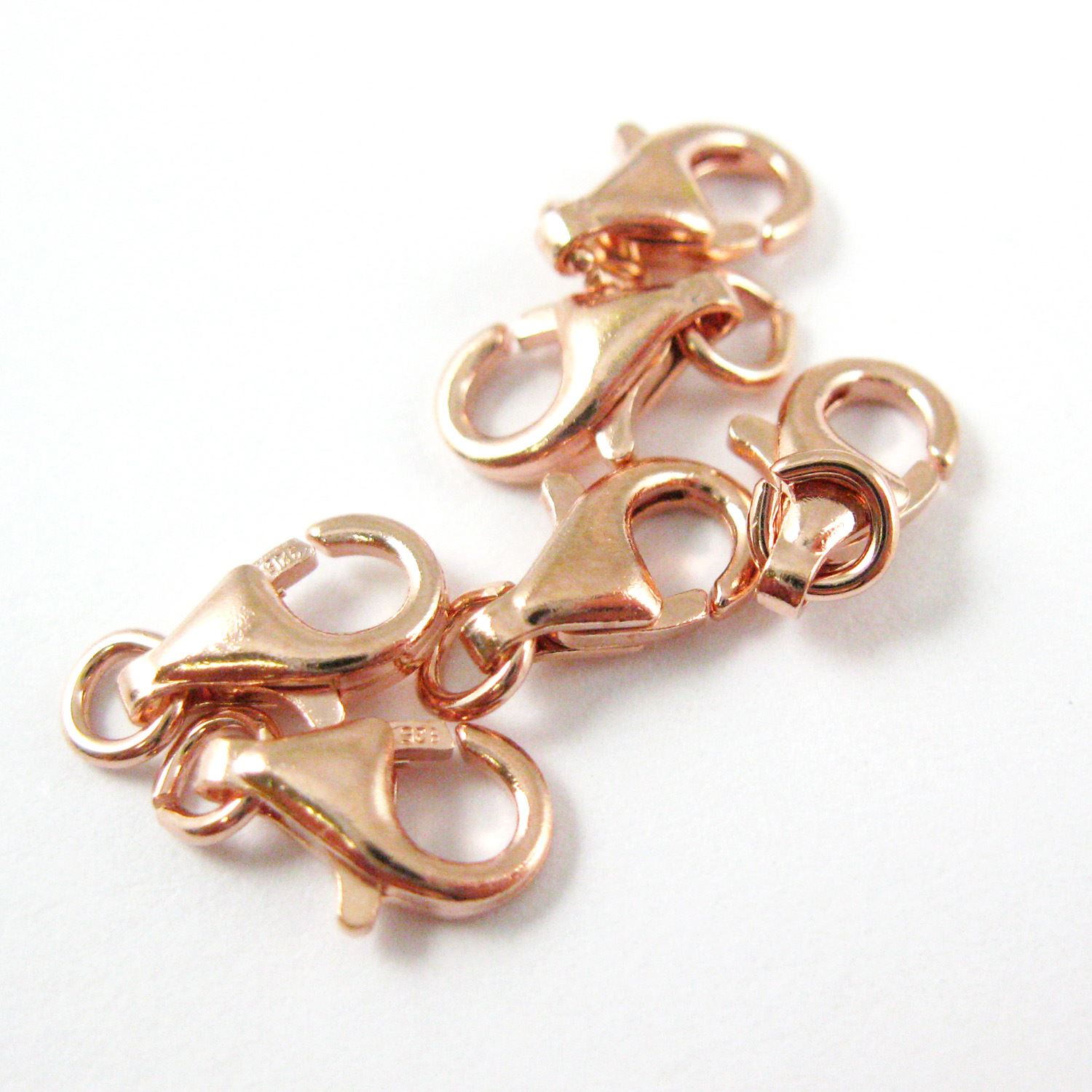 Rose Gold Plated Findings, Gold Clasp, 925 Sterling Silver Clasp - Lobster Style 9mm (sold per 5 pieces)