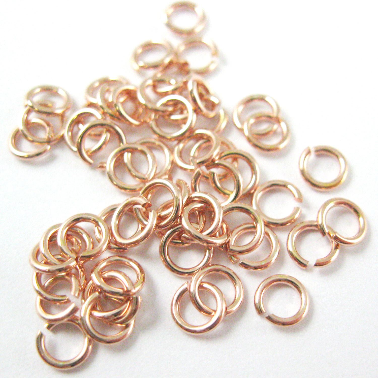 Rose Gold plated Sterling Silver Open Jump Rings,20ga,4mm (sold per pkg of 20pcs)