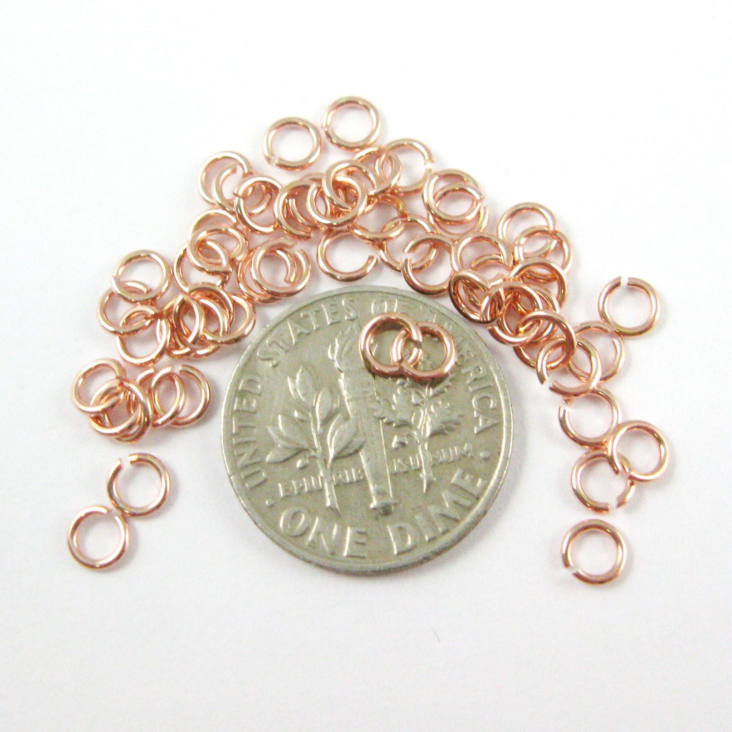 Rose Gold plated Sterling Silver Open Jump Rings,21ga,4mm (sold per pkg of 20pcs)