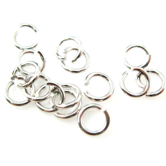 Rhodium plated Sterling Silver Open Jump Rings,21ga,4mm (sold per pkg of 20pcs)