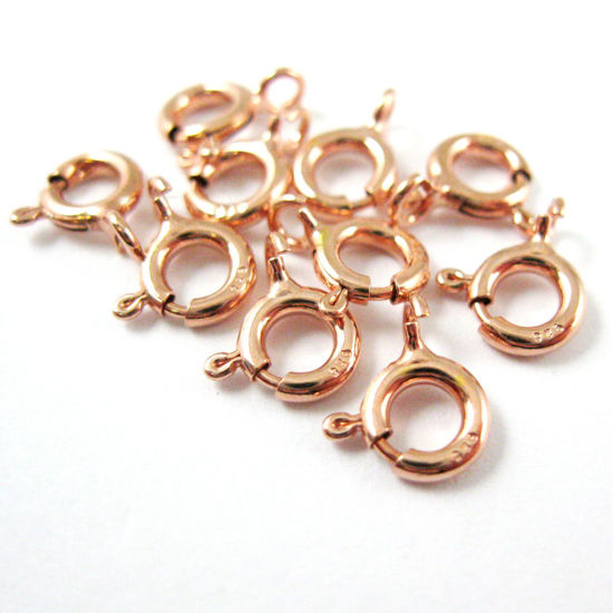 Rose Gold plated Sterling Silver Springring Clasps- 5.5mm ( pack of 10)