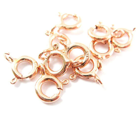 Rose Gold Plated over Sterling Silver Spring Ring Clasp 6mm - 5 pieces
