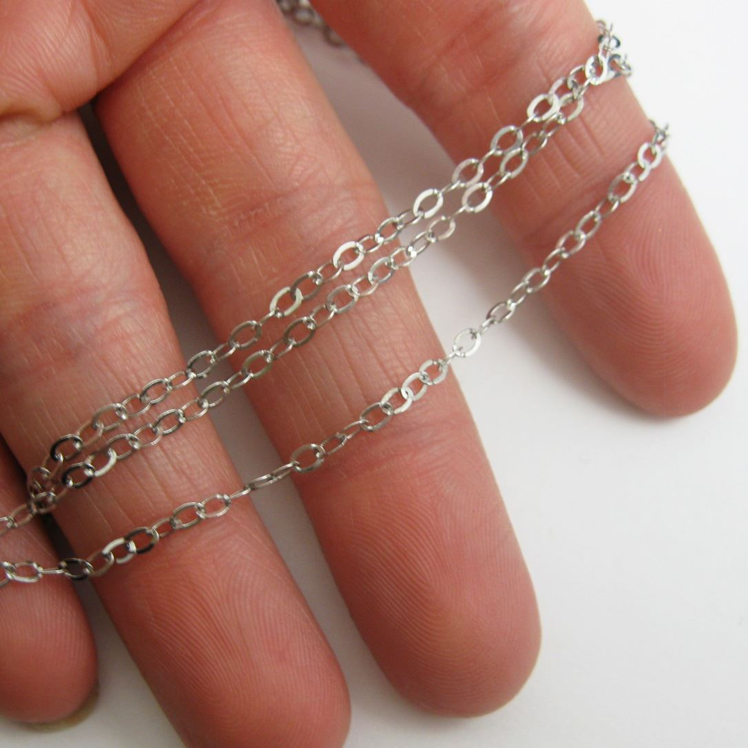 925 Sterling Silver Chain - Rhodium Plated Chain, Unfinished Chain, Cable Flat Oval, Cable Chain - Unifinished Bulk Chain -3 by 2.2mm