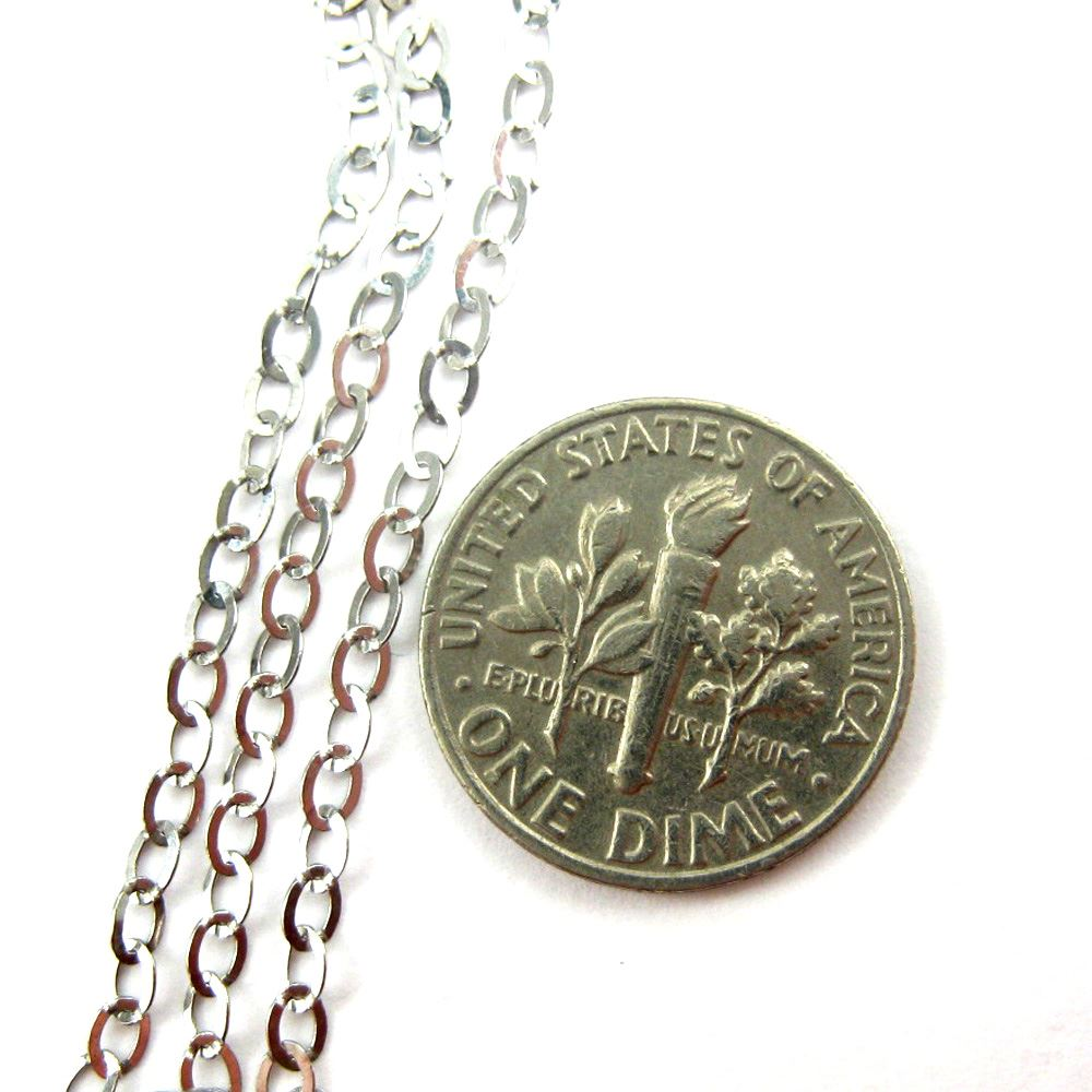 925 Sterling Silver Chain Rhodium Plated Chain, Unfinished Chain, Cable Flat Oval, Cable Chain- Bulk Chain -3.5 by 3mm
