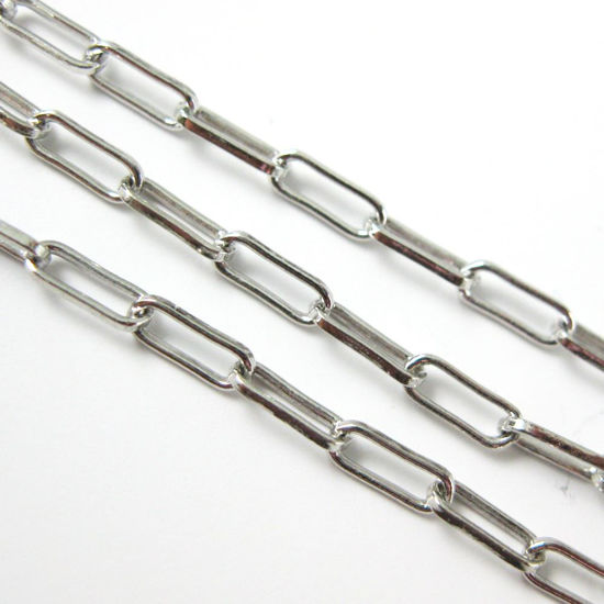 Rhodium Plated Sterling Silver 2.5X6.5mm Rectangle Box Chain by the foot. Unfinished Bulk Chain for Jewelry Making