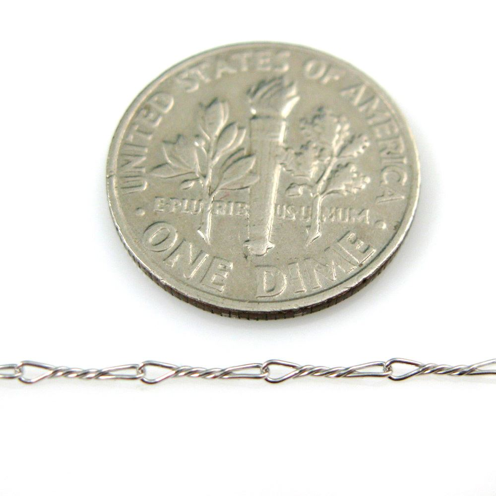 Sterling Silver Chain - Rhodium Plated Chain - Unfinished , Bulk Chain, Fancy Twisted Chain Rhodium Plated