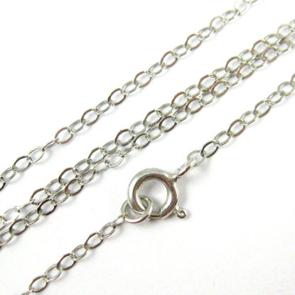 Rhodium Necklace Chain - Rhodium Necklace- Rhodium plated over 925 Italian Sterling Silver Chain - 2.5 x 2mm Light Flat Cable Necklace - Long Necklace - All Sizes
