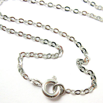 Rhodium Necklace Chain - Rhodium plated over 925 Italian Sterling Silver Chain - Light Flat Cable Necklace Chain - 24 Inches