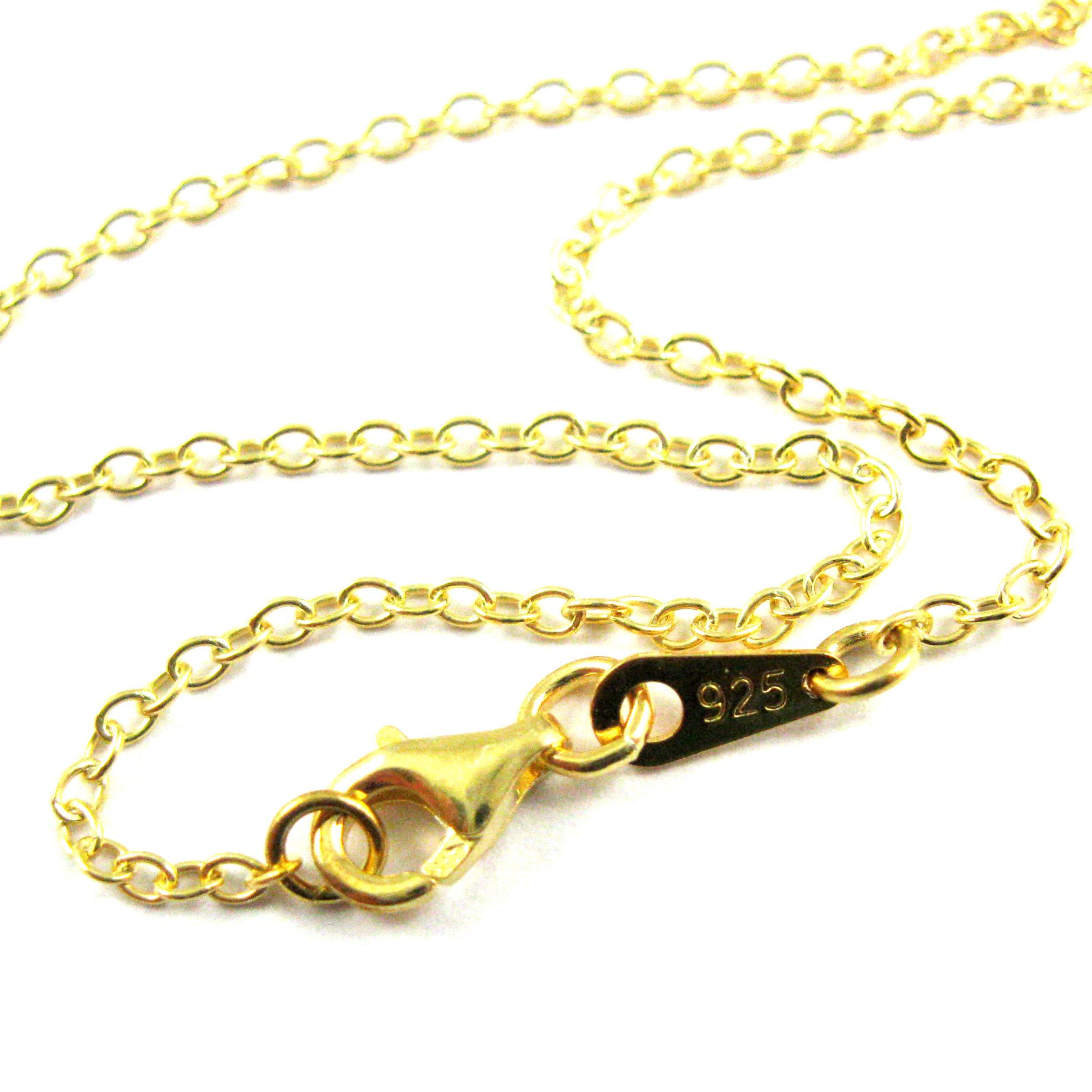 Gold Necklace, Gold Plated Vermeil Sterling Silver Necklace Chain - Long Necklace- 2mm Strong Cable Oval - All Sizes