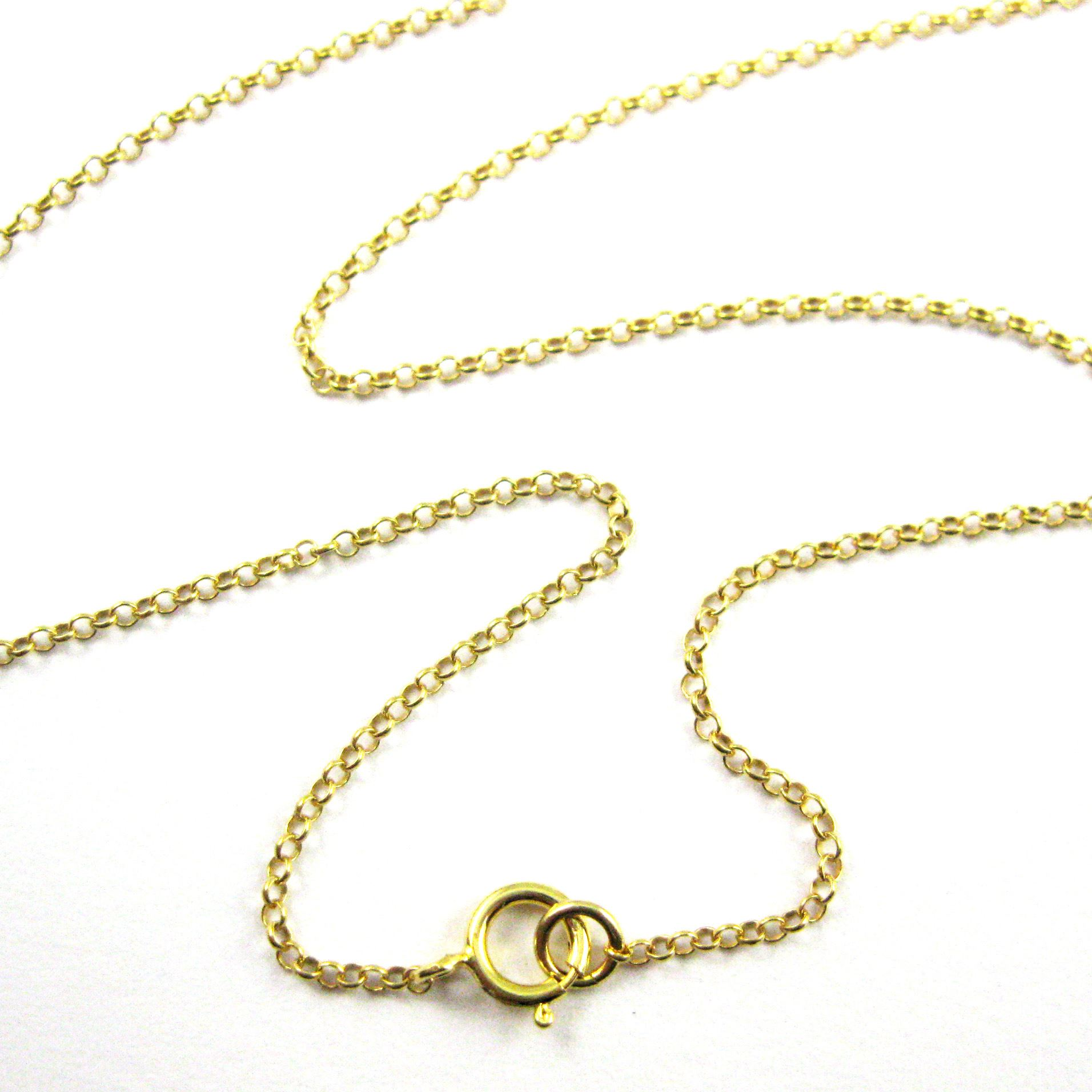 22k Gold plated 925 Sterling Silver Chain, Necklace, Bracelet. Anklet - Vermeil 1mm Rolo Chain- Rolo Chain Necklace for Pendant - All Sizes