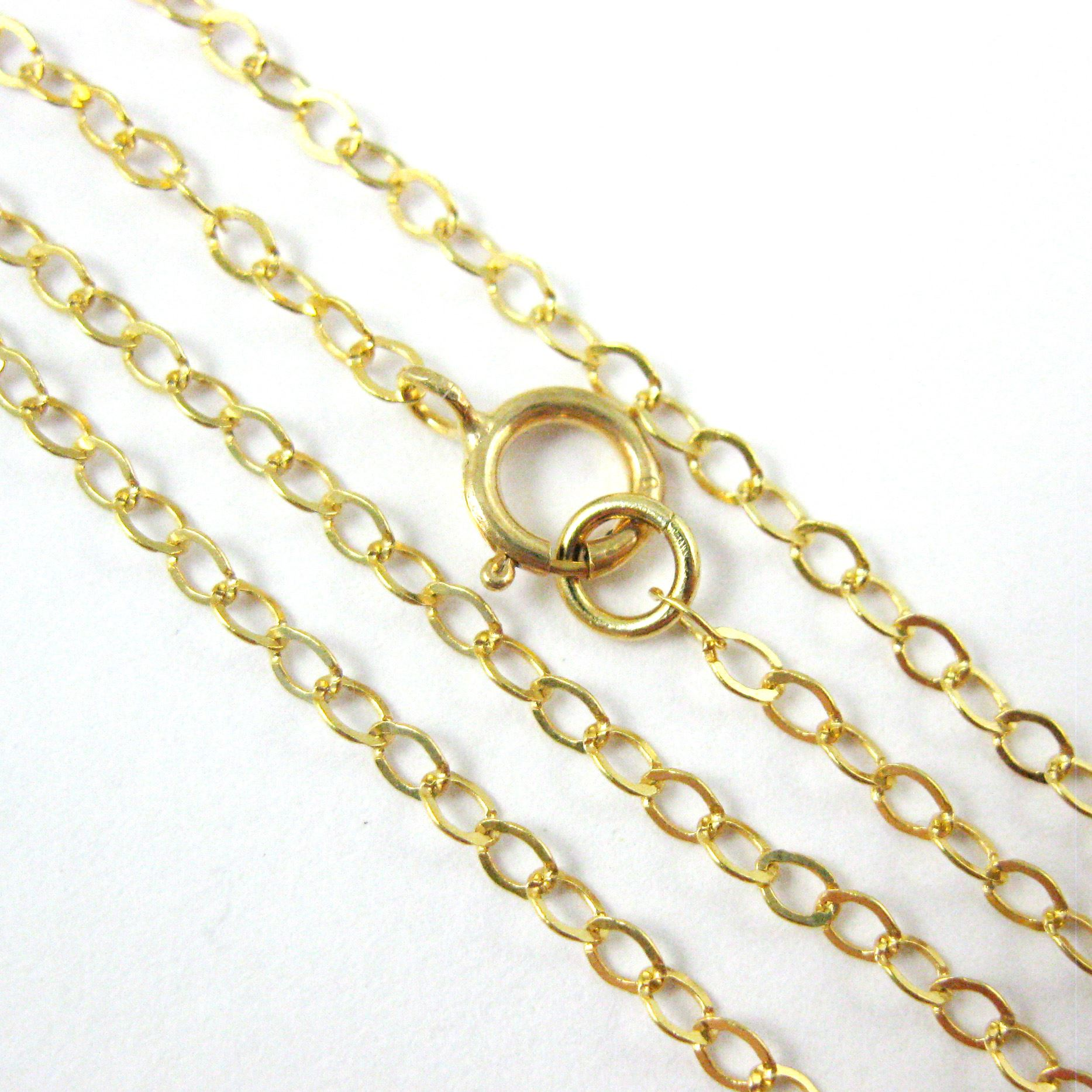 22K Gold plated Silver Necklace - 925 Italian Sterling Silver Necklace Chain - 2.5 x 2mm Light Flat Cable - Long Necklace - All Sizes