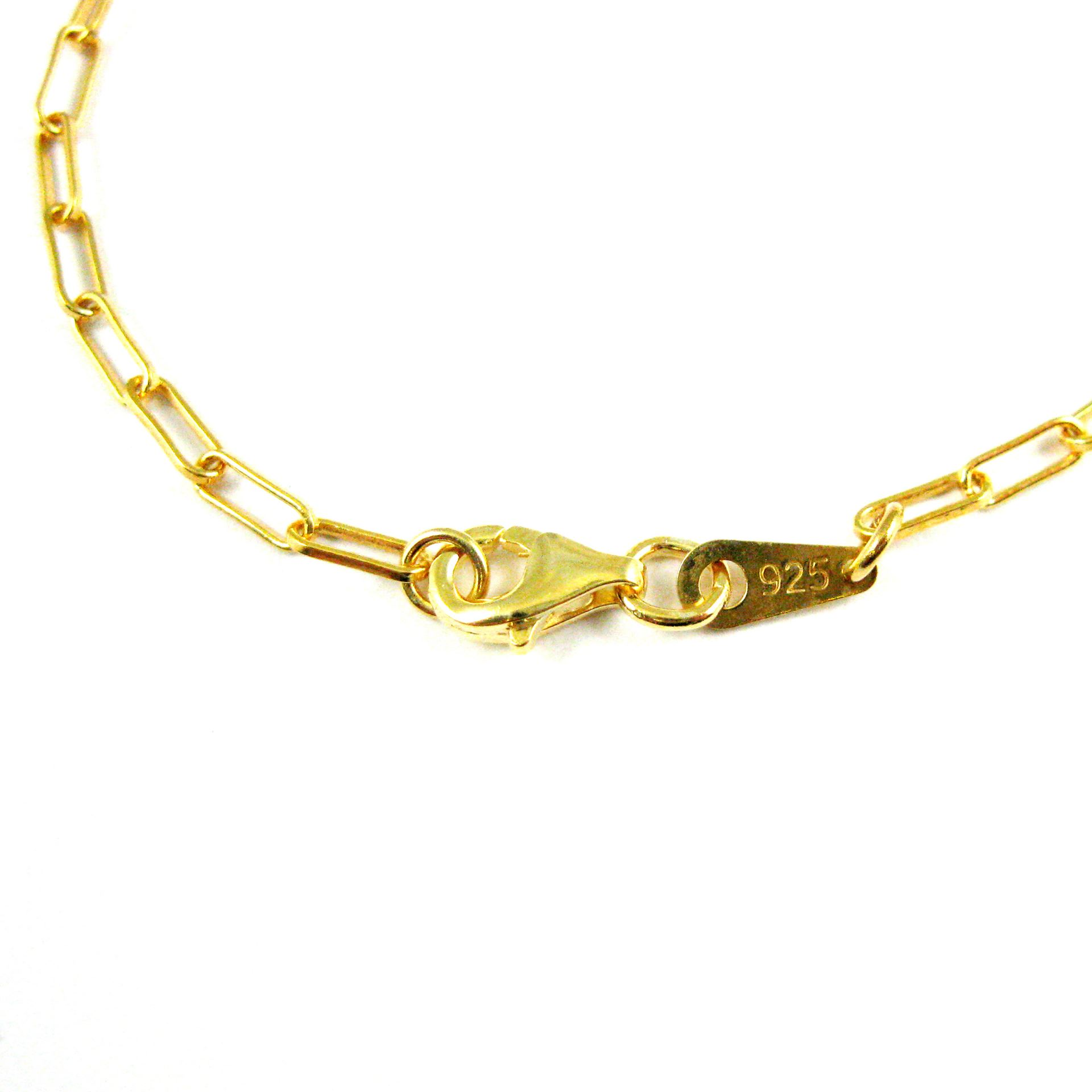 22K Gold plated Sterling Silver Necklace, Bracelet, Anklet - Vermeil-  Rectangle Link -Long Box Chain- 2.5 by 7mm - All Sizes