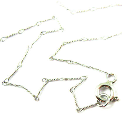 Rhodium plated over 925 Sterling Silver Chain Necklace,Bracelet, Anklet - Fancy Twisted Necklace - Long Necklace - 6.7mm - All Sizes