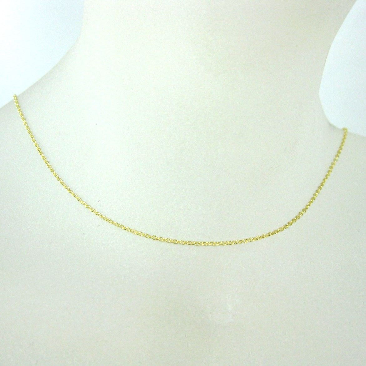 22K Gold Plated over Sterling Silver Necklace Vermeil Chain, Gold Chain - Bracelet Chain - Anklet Chain - Tiny Plain Cable Oval - Long Necklace -All Sizes