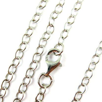 Rhodium plated over of Sterling Silver Chain Necklace - Rhodium Bracelet, Anklet - 4mm Cable Chain Necklace - 4mm Strong Cable Chain- All Sizes