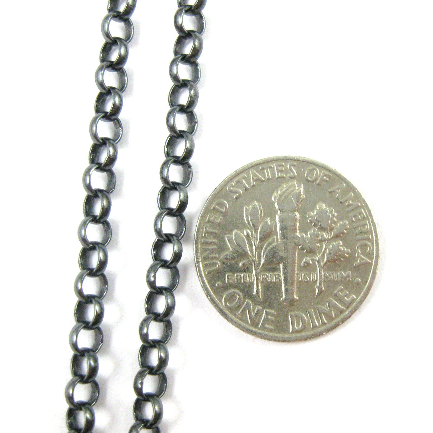 Oxidized Sterling Silver Chain- 3.5mm Rolo Chain. Bulk unfinished by the foot.