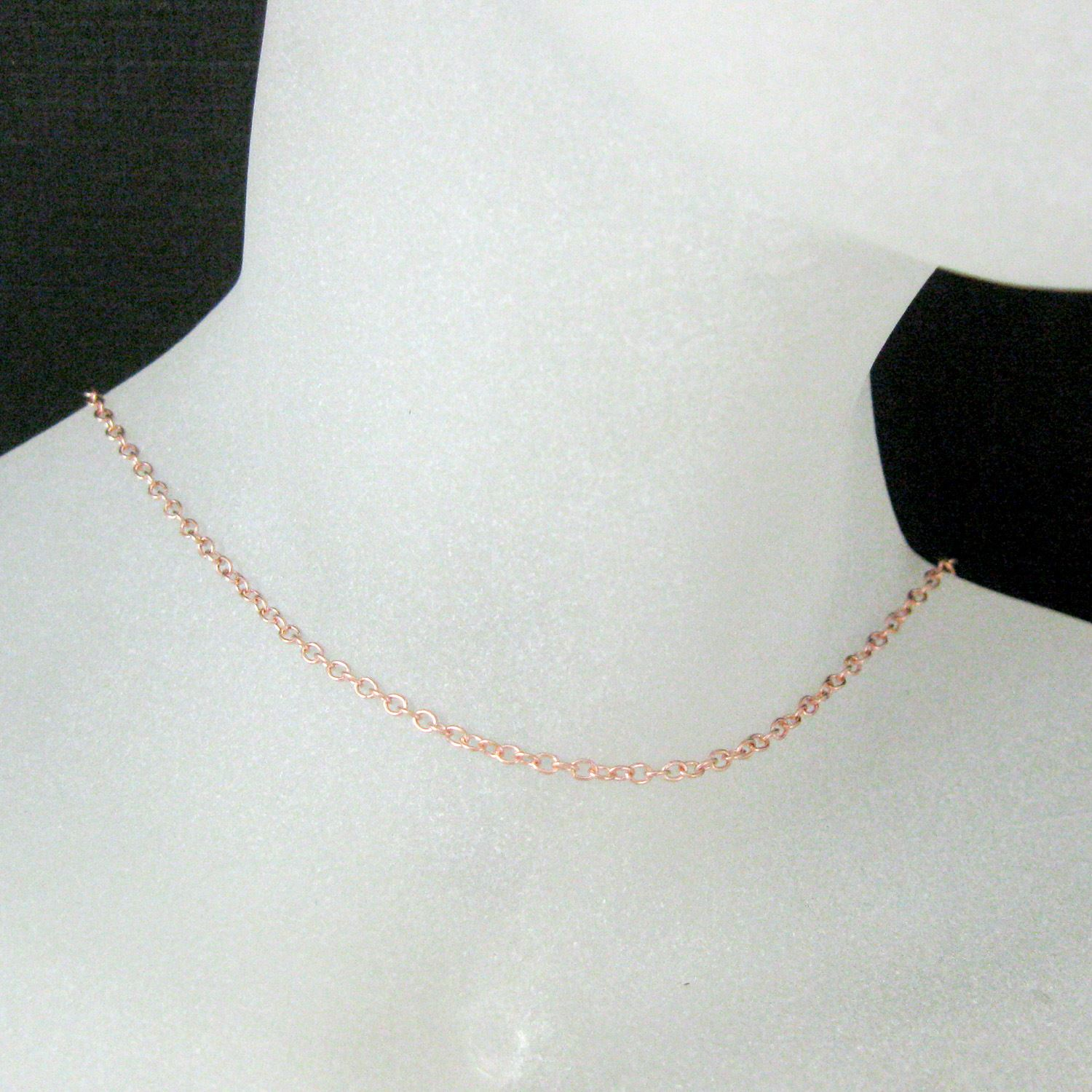 Rose Gold Necklace, Gold Plated Vermeil Sterling Silver Necklace Chain - Long Necklace- 2mm Strong Cable Oval - All Sizes