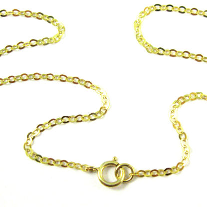 22K Gold Plated Sterling Silver Necklace - 925 Italian Sterling Silver Chain - Light Flat Cable - Long Necklace - All Sizes
