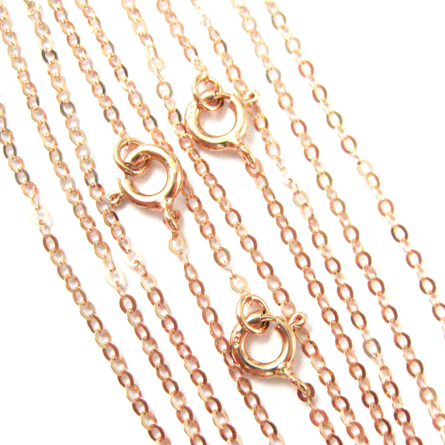 Rose Gold Plated Sterling Silver Necklace - 925 Italian Sterling Silver Chain - Light Flat Cable - Long Necklace - All Sizes