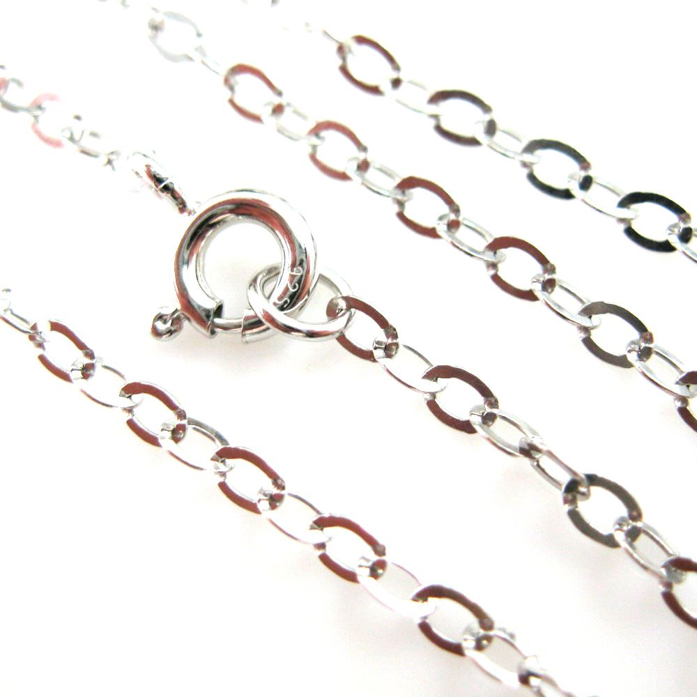 Rhodim Necklace Chain - Rhodium plated over 925 Italian Sterling Silver Chain - 2.2 x 3mm Light Flat Cable Necklace Chain - All Sizes