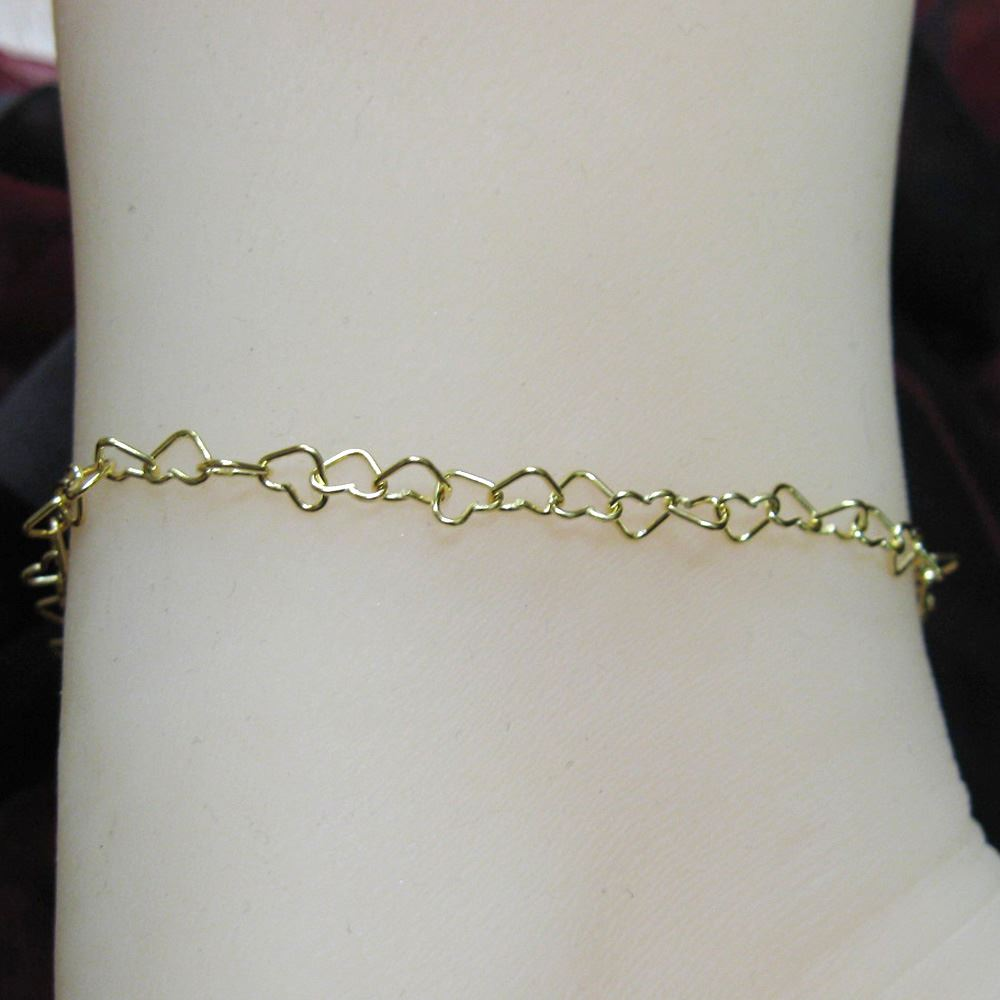 Gold Necklace, Gold Bracelet, Gold Anklet, Gold Plated Vermeil Sterling Silver Chain  - Heart Link Chain - All Sizes
