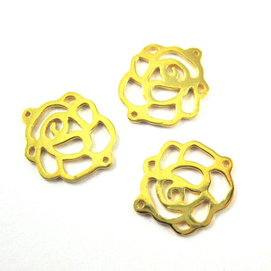 22K Gold plated Sterling Silver 15mm Rose Chain Link or Charm (Sold per 3 pcs)
