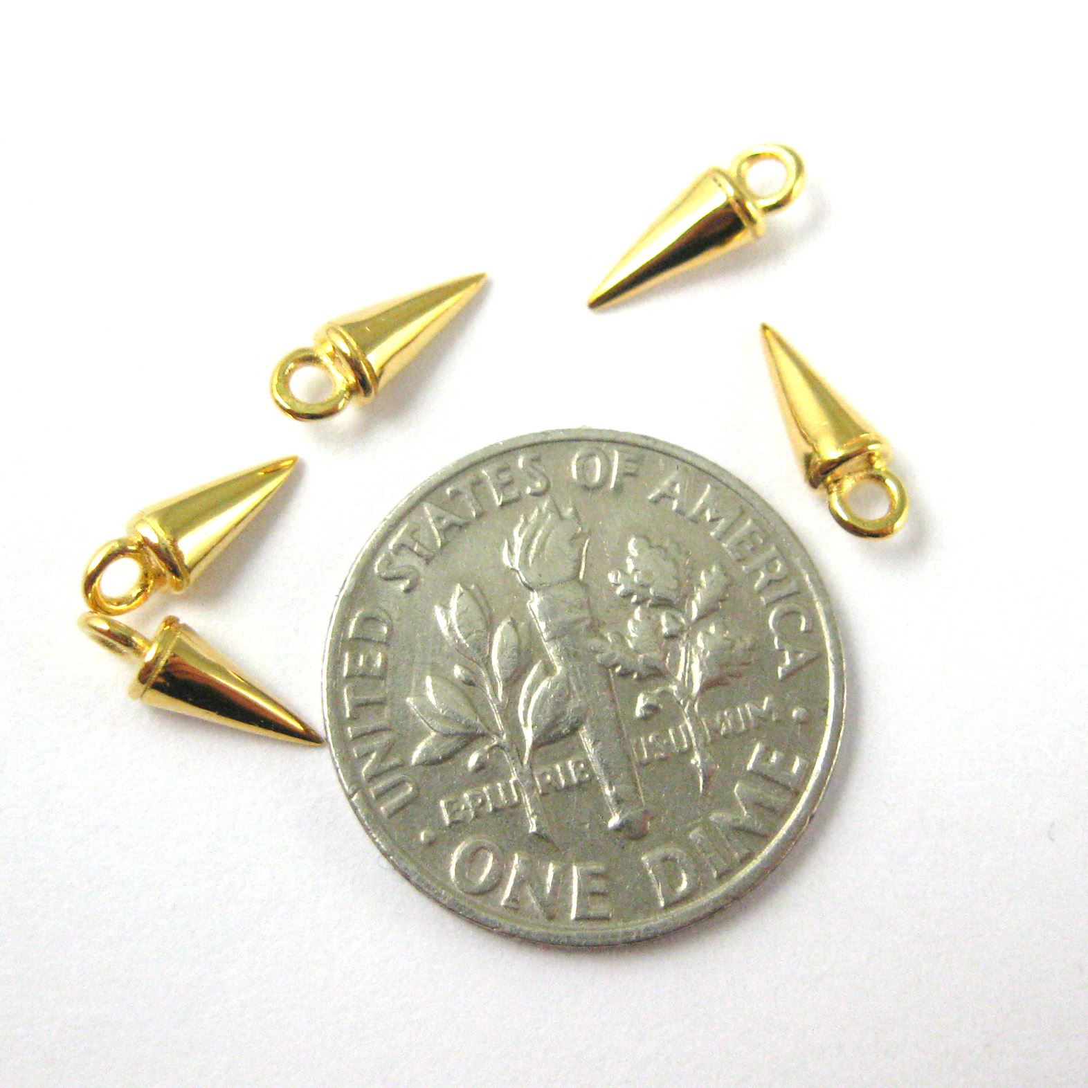 22K Gold plated Sterling Silver Charm - Spike Stud Charm - Cone Charm - Jewelry Stud - Jewelry Making Charm - Findings( 8mm-5 pcs)