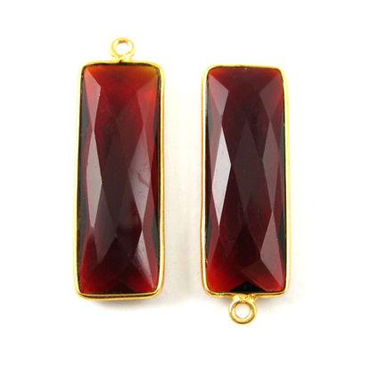 Bezel Charm Pendant-Vermeil Charm-Gold Plated -Elongated Rectangle Shape- Garnet Quartz- January Birthstone -34 by 11mm (Sold per 2 pieces)