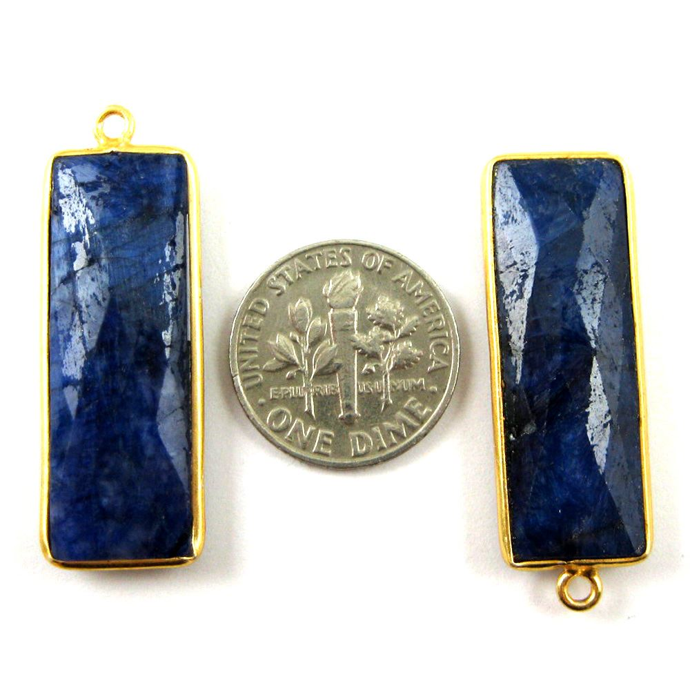 Bezel Charm Pendant-Vermeil Charm-Gold Plated -Elongated Rectangle Shape-Blue Sapphire Dyed - September Birthstone -34 by 11mm  (Sold per 2 pieces)