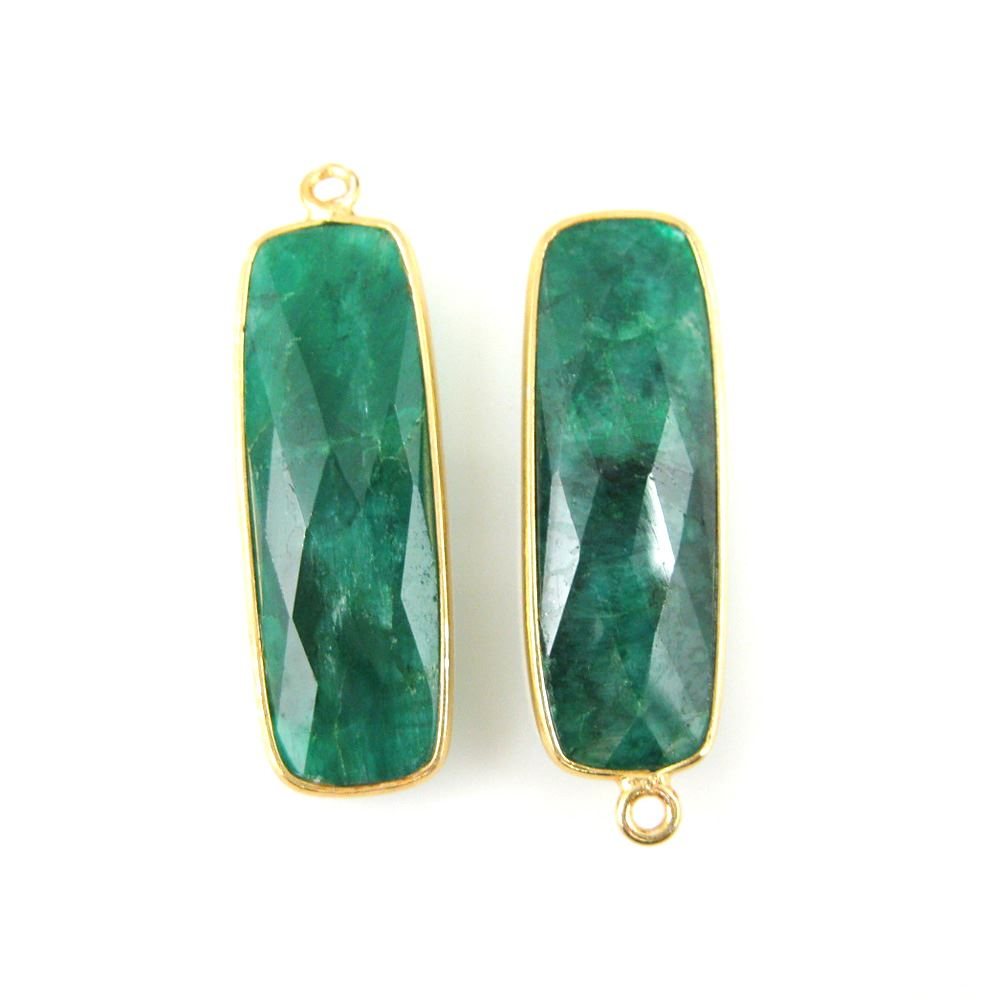 Bezel Charm Pendant-Vermeil Charm-Gold Plated -Emerald Dyed-Elongated Rectangle Shape-34 by 11mm  (Sold per 2 pieces)