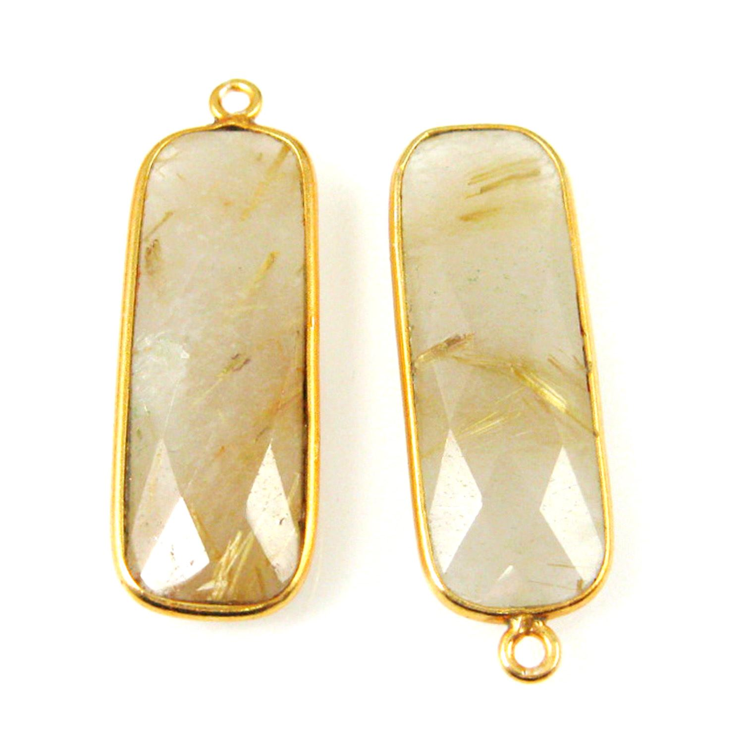 Bezel Charm Pendant-Vermeil Charm-Gold Plated -Gold Rutilated -Elongated Rectangle Shape-34 by 11mm (Sold per 2 pieces)