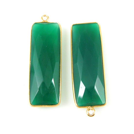Bezel Charm Pendant-Vermeil Charm-Gold Plated -Green Onyx -Elongated Rectangle Shape-34 by 11mm  (Sold per 2 pieces)