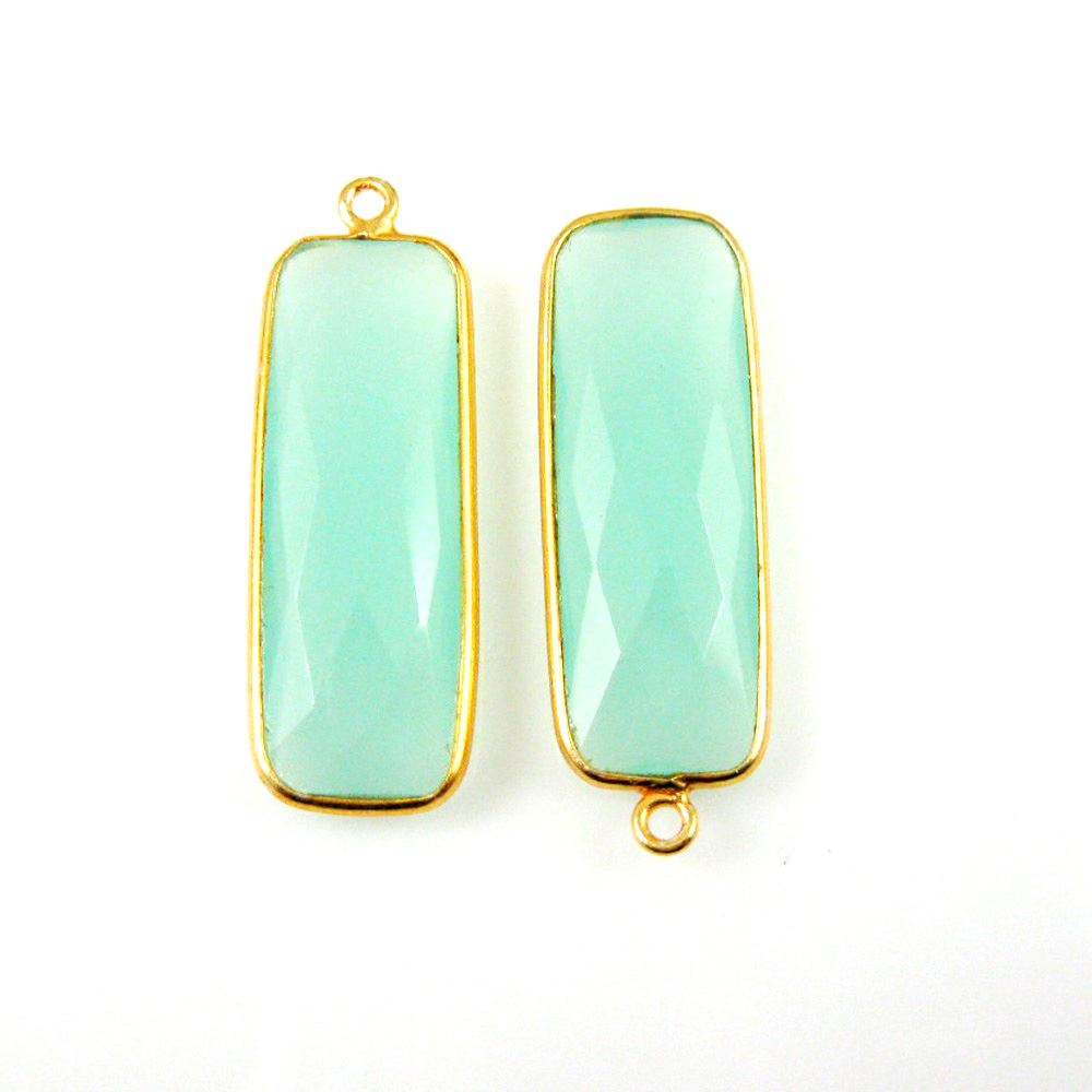 Bezel Charm Pendant-Vermeil Charm-Gold Plated -Peru Chalcedony-Elongated Rectangle Shape-34 by 11mm  (Sold per 2 pieces)