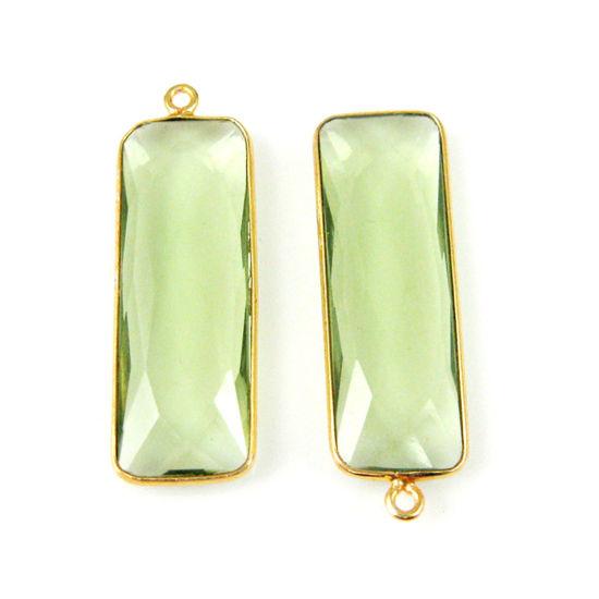 Bezel Charm Pendant-Vermeil Charm-Gold Plated-Green Amethyst Quartz-Elongated Rectangle Shape-34 by 11mm (Sold per 2 pieces)