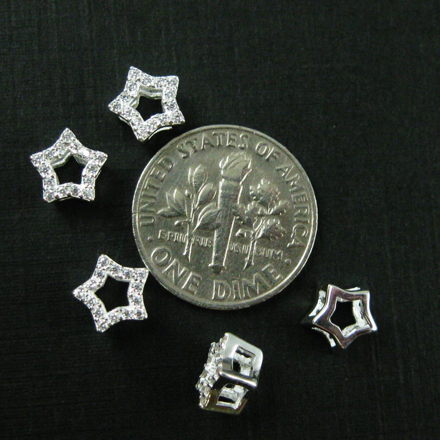 925 Silver Charms - Silver Star Charm- Tiny Star CZ Stone- Cubic Zirconia Star Charm Connector- 1 pc