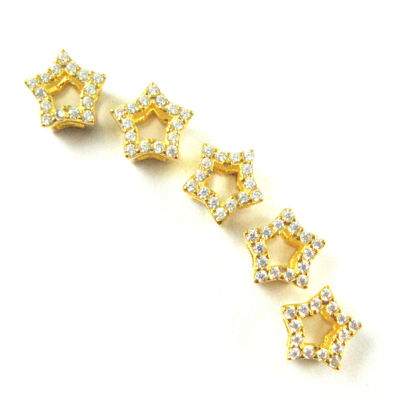 22K Gold plated 925 Sterling Silver Charms - Gold Star Charm- Cubic Zirconia Star Charm Connector