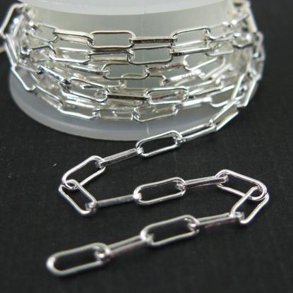 Sterling Silver 2.5X6.5mm Rectangle Box Chain. Unfinished Bulk Chain for Jewelry Making. Sold by the foot