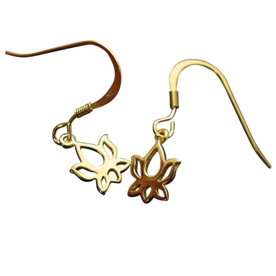 18K Gold Plated over Sterling Silver Vermeil Earrings- Lotus Flower