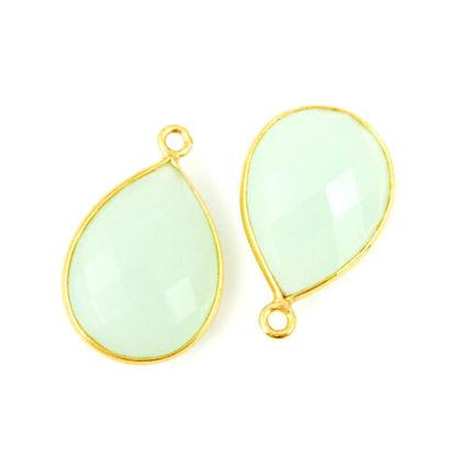 Bezel Gemstone Pendant - 13x18mm Faceted Pear Shape - Aqua Chalcedony (Sold per 2 pieces)