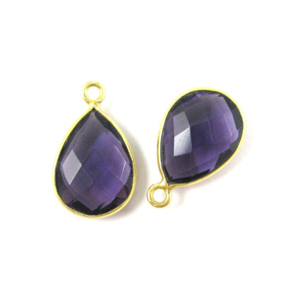 Bezel Gemstone Pendant - 10x14mm Faceted Small Teardop Shape - Amethyst Quartz (Sold per 2 pieces)