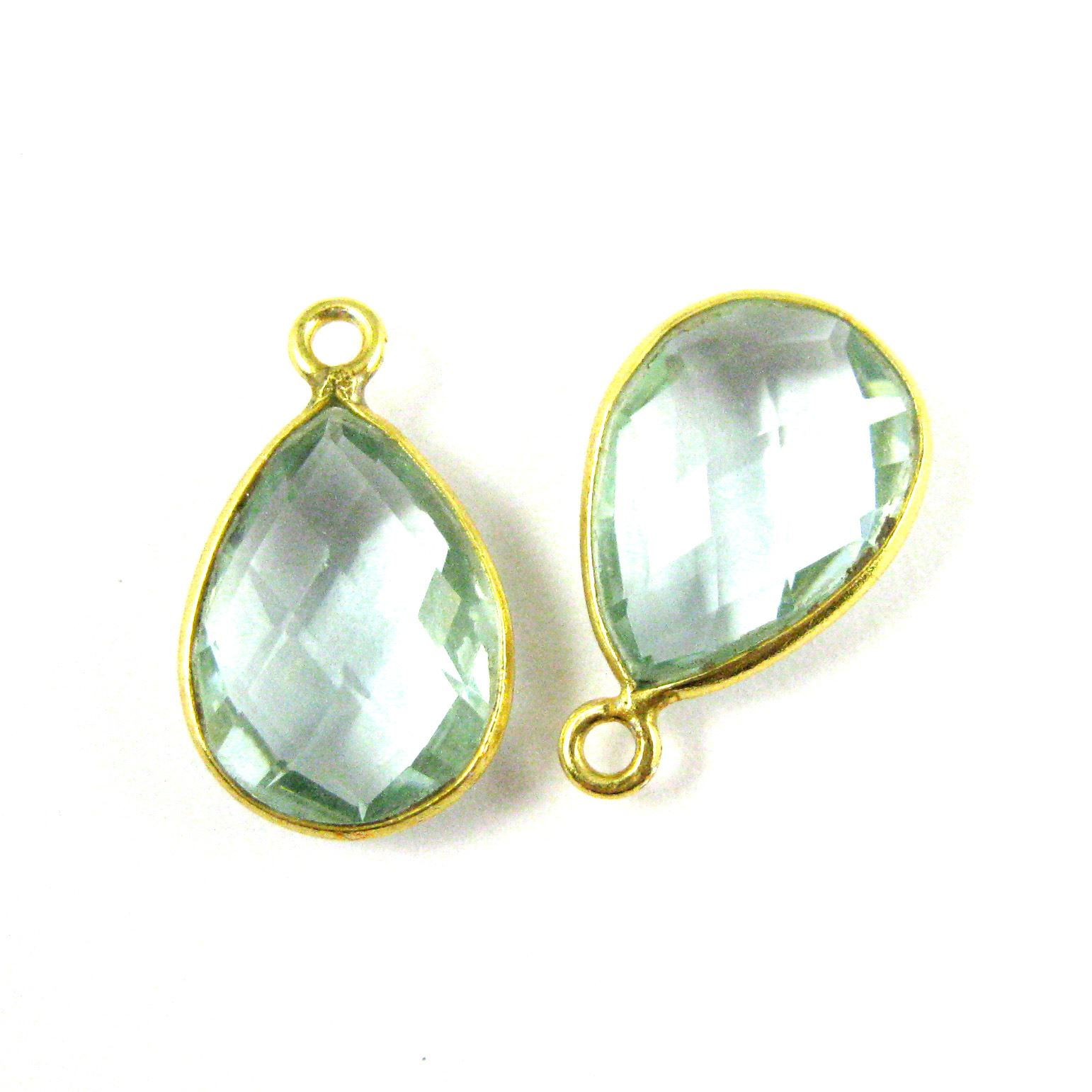 Bezel Gemstone Pendant - 10x14mm Faceted Small Teardop Shape - Aqua Quartz (Sold per 2 pieces)