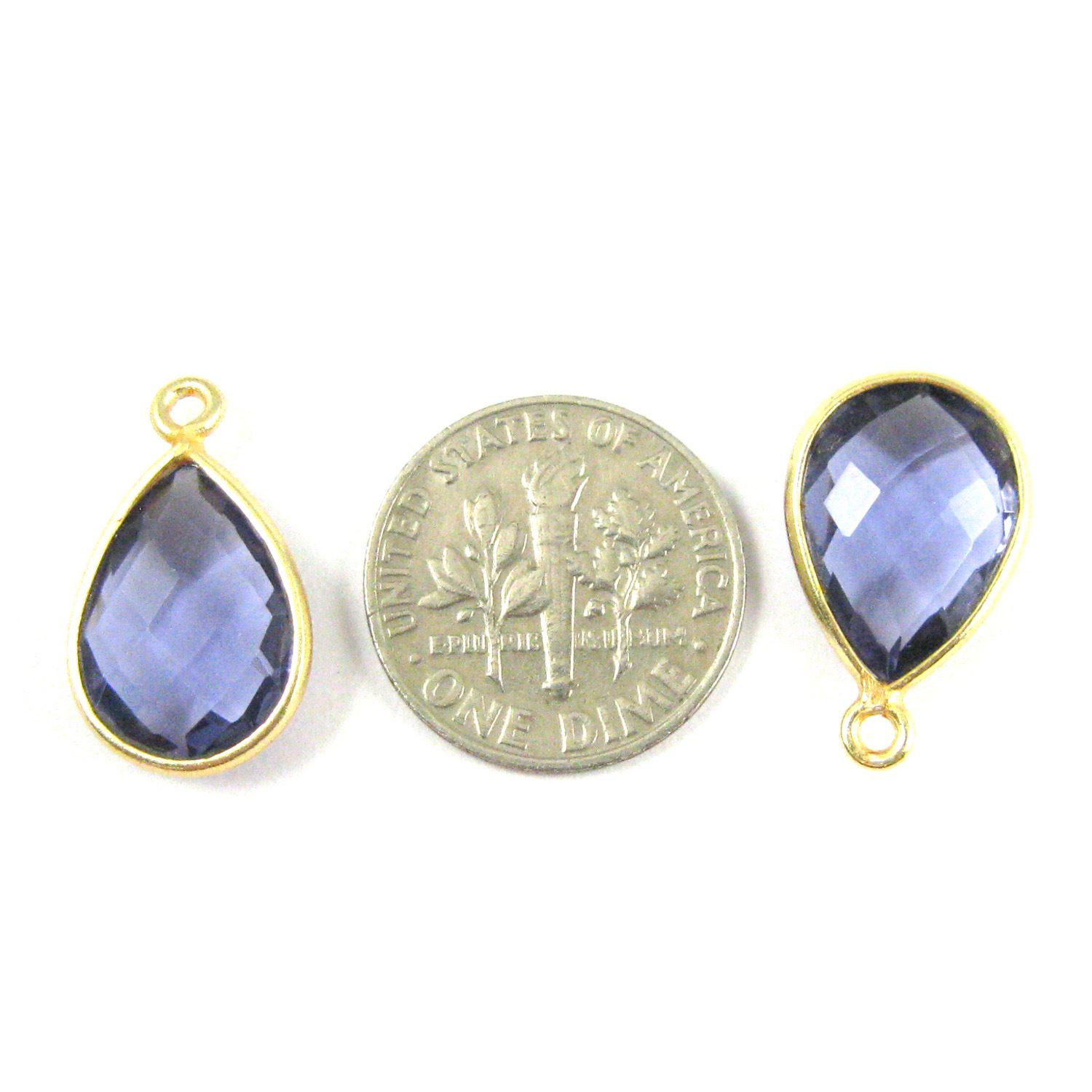 Bezel Gemstone Pendant - 10x14mm Faceted Small Teardop Shape - Iolite Quartz  (Sold per 2 pieces)